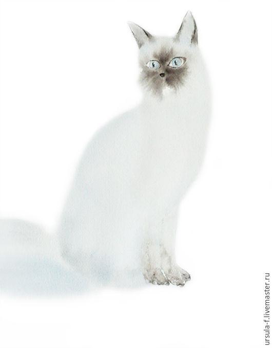 кот,акварель, картина акварелью, картина акварель, акварель голубой кот, акварель животные, акварель кот, картина кот, картина акварелью кот, ursula-f