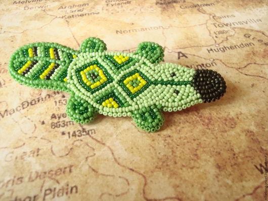 Броши ручной работы. Ярмарка Мастеров - ручная работа. Купить Бисерные броши Утконосы зеленый и терракотовый. Handmade. Разноцветный, Австралия