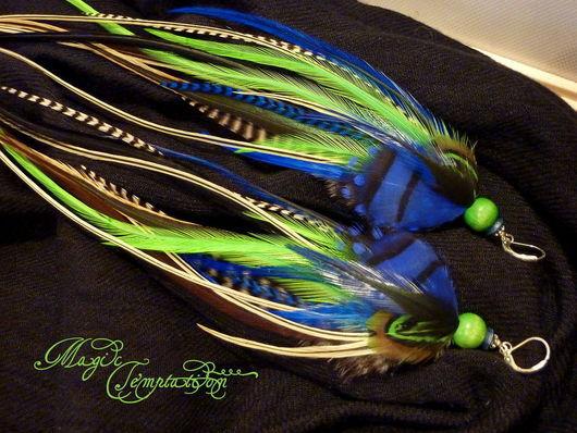 Серьги ручной работы. Ярмарка Мастеров - ручная работа. Купить Сине-зеленые серьги из перьев. Handmade. Синие серьги