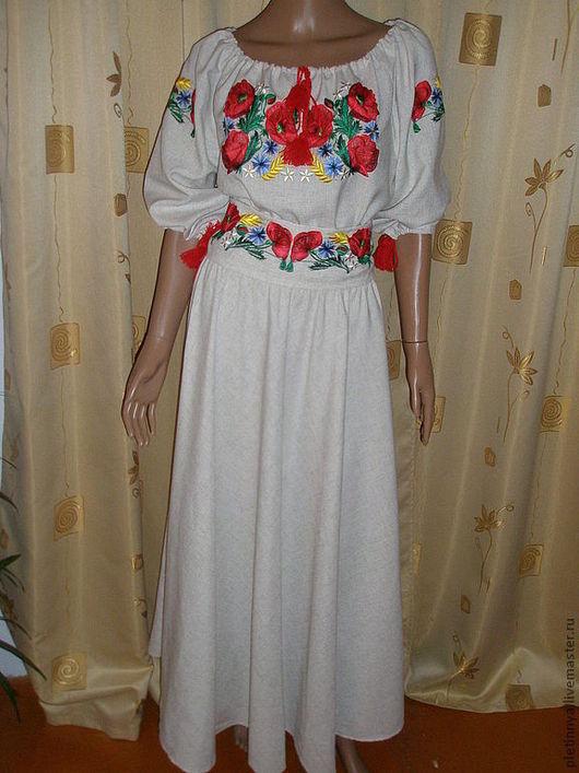 """Платья ручной работы. Ярмарка Мастеров - ручная работа. Купить платье вышитое """" МАКИ"""". Handmade. Бежевый, вышивка, вышивка"""