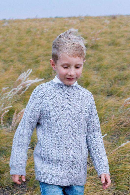 Для подростков, ручной работы. Ярмарка Мастеров - ручная работа. Купить Вязаный свитер. Handmade. Серый, свитер для мальчика