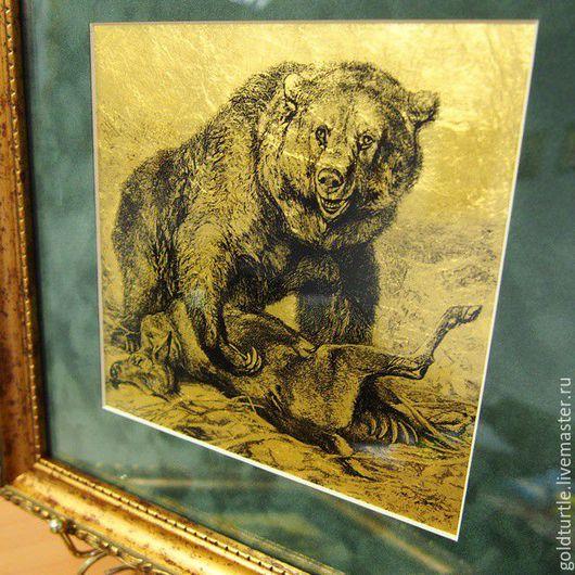 """Животные ручной работы. Ярмарка Мастеров - ручная работа. Купить Картина из сусального золота 960 пробы """"Медведь"""". Handmade. Подарок"""