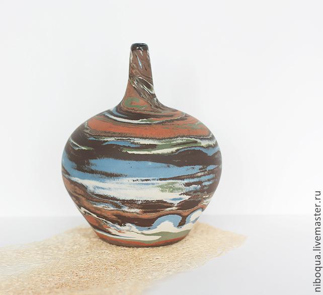 Ваза-бутылка керамическая Кругосветное путешествие