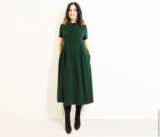 Платья ручной работы. Ярмарка Мастеров - ручная работа. Купить Платье из джерси Изумруд миди. Handmade. Тёмно-зелёный