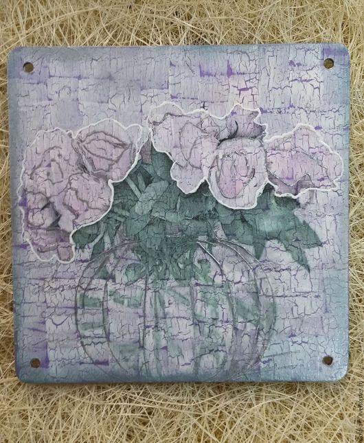 """Прихожая ручной работы. Ярмарка Мастеров - ручная работа. Купить """"Сатиновые розы"""". Handmade. Сиреневый, розы, Картины и панно"""