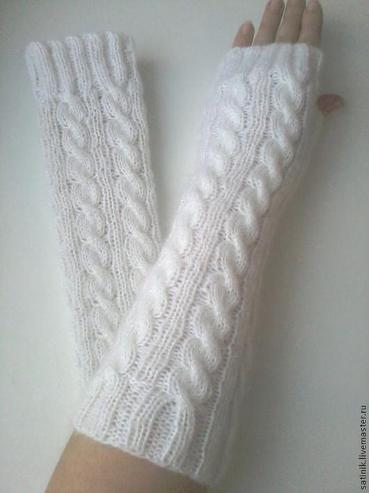 Варежки, митенки, перчатки ручной работы. Ярмарка Мастеров - ручная работа. Купить Митенки белые косы 12. Handmade. Белый