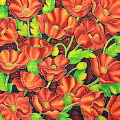 Аксессуары handmade. Livemaster - original item Silk scarf batik Luxurious poppies. Handmade.