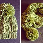 Аксессуары handmade. Livemaster - original item Set knitted Olive Branch, knitted hat, knitted scarf.. Handmade.