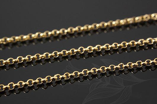 Цепочка Роло с круглыми звеньями 1.6 мм, из латуни с полированной позолотой. Фурнитура для украшений из Южной Кореи.