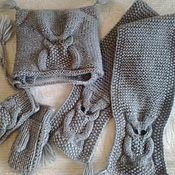 """Работы для детей, ручной работы. Ярмарка Мастеров - ручная работа Детский вязаный комплект: шапочка, шарфик и варежки """" Совушки"""". Handmade."""