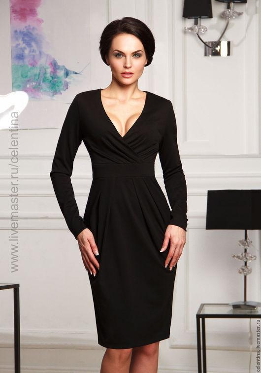 Повседневное черное платье тюльпан.