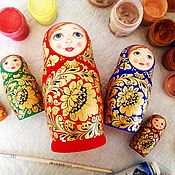 """Матрешки ручной работы. Ярмарка Мастеров - ручная работа Матрешка  5-местная  """"Хохлома"""" (разноцветная). Handmade."""