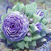 Украшения ручной работы. Ярмарка Мастеров - ручная работа Сиреневая роза из ткани. Канзаши. Handmade.