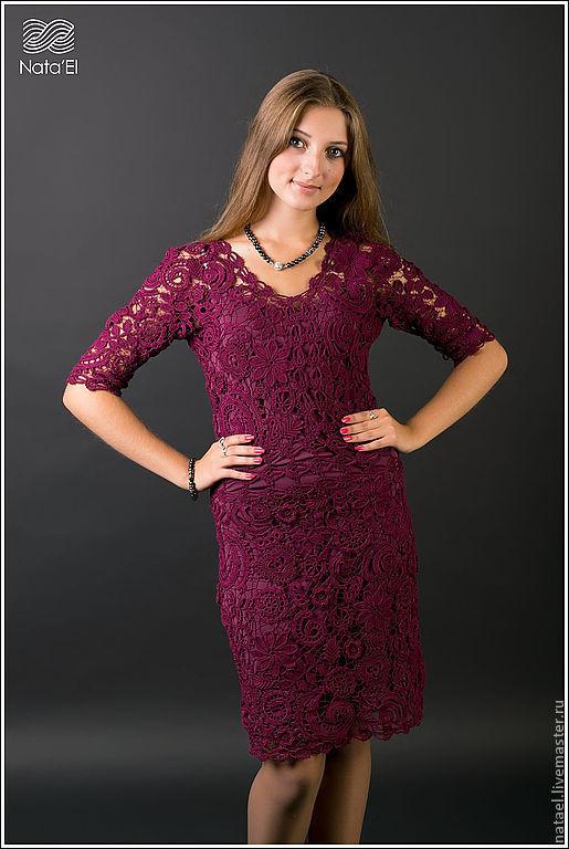 """Платья ручной работы. Ярмарка Мастеров - ручная работа. Купить Платье """"Бордовый ажур"""". Handmade. Бордовый, ирландия, вязаное платье"""