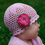 Работы для детей, ручной работы. Ярмарка Мастеров - ручная работа Шапочка светло-розовая с астрой. Handmade.