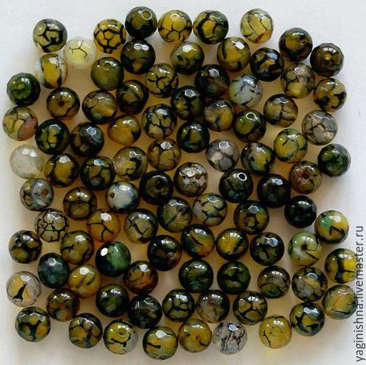 Для украшений ручной работы. Ярмарка Мастеров - ручная работа. Купить Зеленый агат кракле бусины, граненые бусины оливковый агат. Handmade.