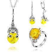 Украшения handmade. Livemaster - original item Set of silver jewelry with lemon amber