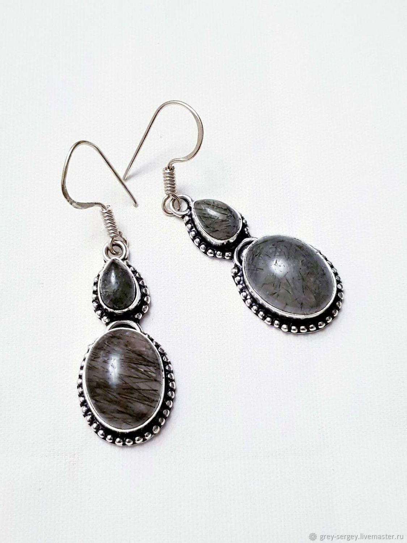 Earrings with black rutile quartz, Earrings, ,  Фото №1