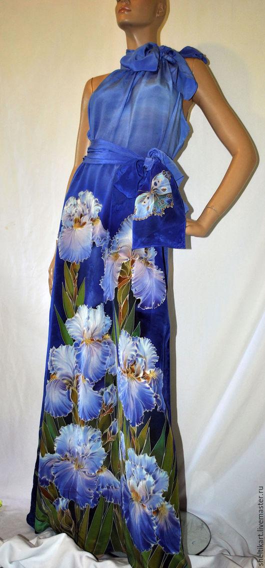 Платья ручной работы. Ярмарка Мастеров - ручная работа. Купить Платье Вечернее Ирисы. Handmade. Синий, платье с росписью