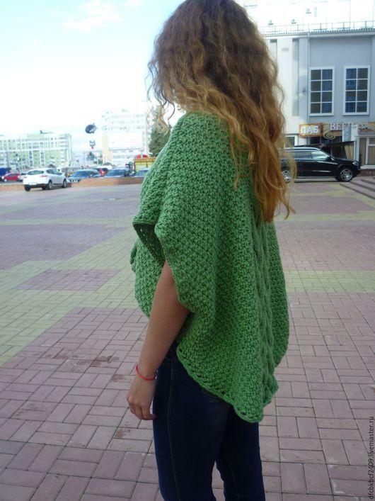 Пончо ручной работы. Ярмарка Мастеров - ручная работа. Купить Пуловер-пончо. Handmade. Зеленый, пончо, шерсть, хлопок с акрилом