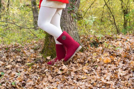 """Обувь ручной работы. Ярмарка Мастеров - ручная работа. Купить Сапоги-валенки """"Бордо"""". Handmade. Бордовый, валенки ручной работы"""