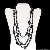 Украшения handmade. Livemaster - original item Multi-row necklace made of natural snow obsidian (m). Handmade.