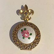 Винтаж handmade. Livemaster - original item Coro Vintage brooch-Loket with guilloche-enamel and Fleur de Lis, USA. Handmade.