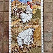 """Картины ручной работы. Ярмарка Мастеров - ручная работа """"Сельский дворик."""" Панно в стиле Кантри. Роспись плитки для кухни. Handmade."""