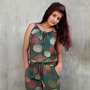 Одежда handmade. Livemaster - original item Jumpsuit Leaves green. Handmade.