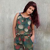 """Одежда ручной работы. Ярмарка Мастеров - ручная работа Комбинезон """"Листья"""" зеленый. Handmade."""