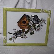 Картины и панно ручной работы. Ярмарка Мастеров - ручная работа Вышивка крестиком, картина, панно Весенние хлопоты или с новосельем. Handmade.