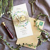 Свадебный салон ручной работы. Ярмарка Мастеров - ручная работа Акварельные свадебные бежевые приглашения Ботаник. Handmade.