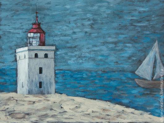 Пейзаж ручной работы. Ярмарка Мастеров - ручная работа. Купить Наивный маяк. Handmade. Синий, бежевый, серый, маяк, корабль