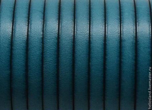 Для украшений ручной работы. Ярмарка Мастеров - ручная работа. Купить Кожаный шнур плоский 5 мм бирюза. Handmade.