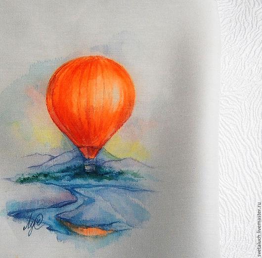 Носовые платочки ручной работы. Ярмарка Мастеров - ручная работа. Купить На большом воздушном шаре...... Handmade. Комбинированный, цвет