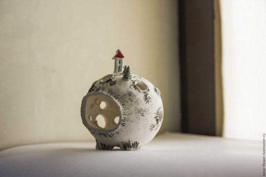 Подсвечники ручной работы. Ярмарка Мастеров - ручная работа. Купить керамический подсвечник Персональная планета. Handmade. Белый, космический, керамика