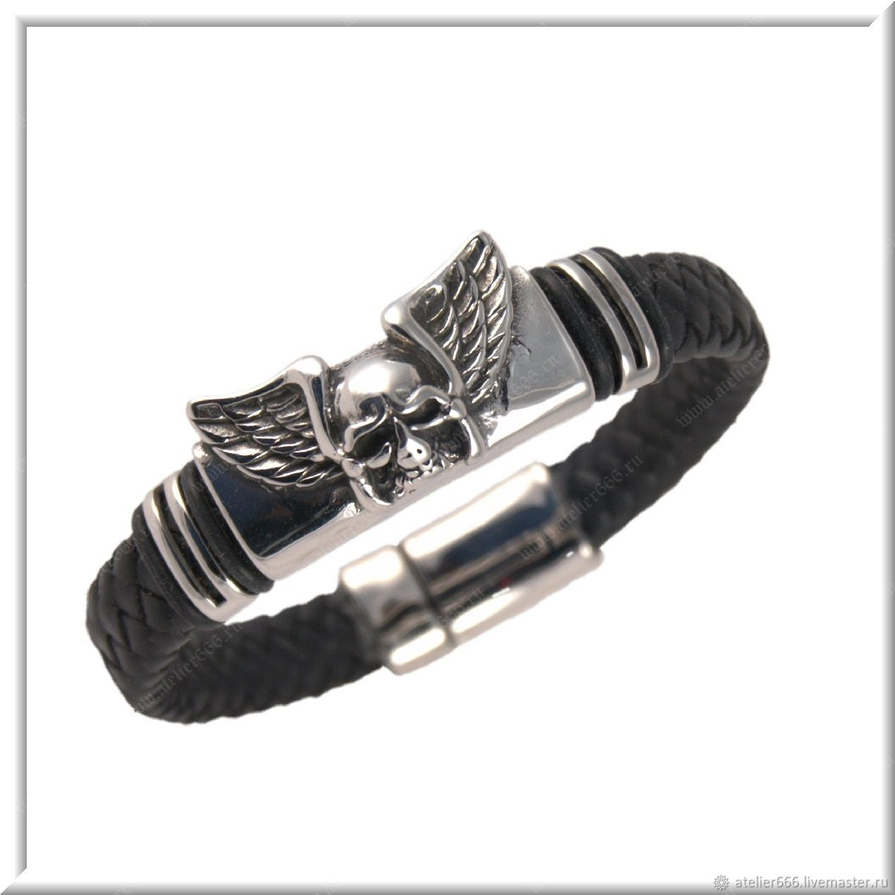 Men's leather bracelet No. 16 accessories steel 316L, Regaliz bracelet, Moscow,  Фото №1