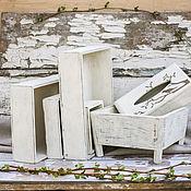 Для дома и интерьера ручной работы. Ярмарка Мастеров - ручная работа Ящики с белой обработкой в стиле шебби. Handmade.