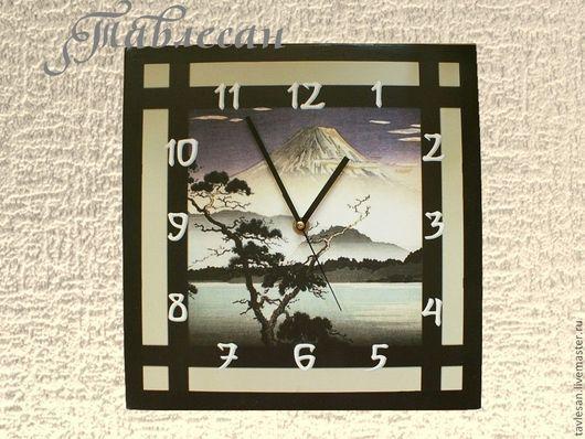 """Часы для дома ручной работы. Ярмарка Мастеров - ручная работа. Купить Часы настенные """"Фудзи"""" в японском стиле подарок мужчине. Handmade."""