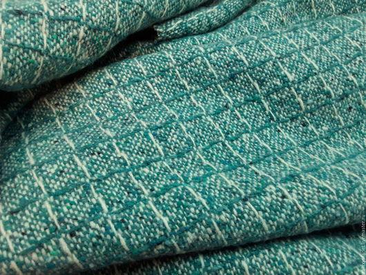 """Шитье ручной работы. Ярмарка Мастеров - ручная работа. Купить Пальтовая шерсть в клетку """"Бриллиантовая зелень"""" Ост.2,75 м.. Handmade."""