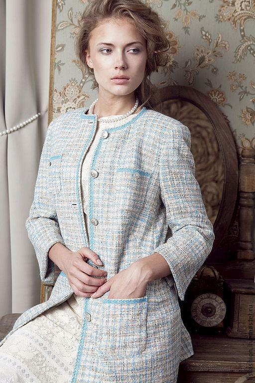 Верхняя одежда ручной работы. Ярмарка Мастеров - ручная работа. Купить Жакет Коко 1250716. Handmade. Голубой, пальто, клетка