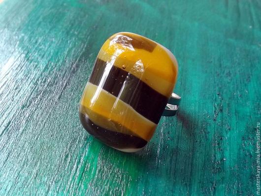 """Кольца ручной работы. Ярмарка Мастеров - ручная работа. Купить кольцо """"Августовский мёд"""". Handmade. Разноцветный, стекло, коричневый"""