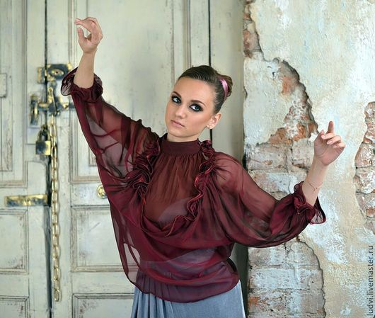 Блузки ручной работы. Ярмарка Мастеров - ручная работа. Купить Блуза, натуральный шелк, эксклюзив Фиолетовый закат. Handmade. Фиолетовый