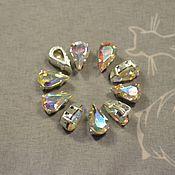 Материалы для творчества handmade. Livemaster - original item 1pc Rhinestones drops 10h6 Czech Crystal AB in DACs. Handmade.