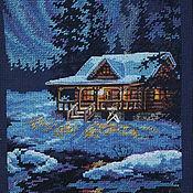 """Картины и панно ручной работы. Ярмарка Мастеров - ручная работа Картина (вышитая крестиком) """"Домик в зимнем лесу"""". Handmade."""