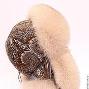 Аксессуары ручной работы. Ярмарка Мастеров - ручная работа Женская шапка ушанка с П-Посадским платком. Handmade.