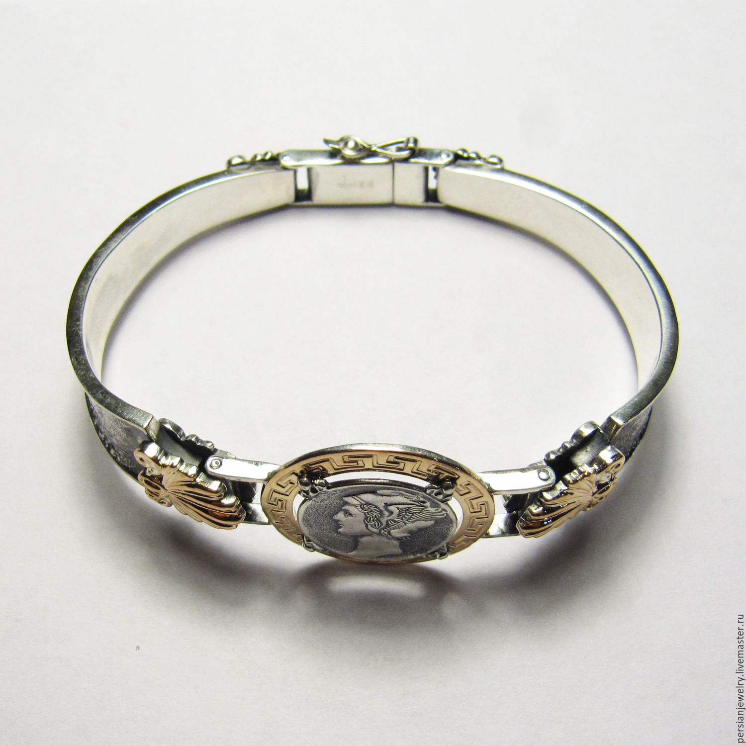 The band is rigid: The bracelet on the arm, 'Mars' silver and gold, Hard bracelet, Sevastopol,  Фото №1