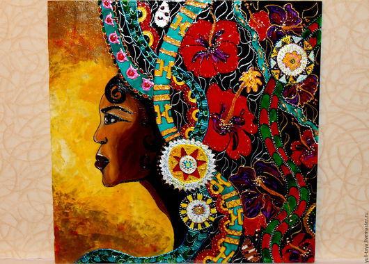 Этно ручной работы. Ярмарка Мастеров - ручная работа. Купить картина на стекле Монровияночка-африканочка. Handmade. Разноцветный, Красный цветок