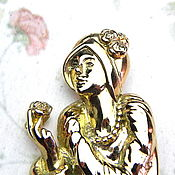 Винтаж handmade. Livemaster - original item Brooch Lady with rose, Lady Remington, USA, ,70-80s, girl with flower, rose. Handmade.