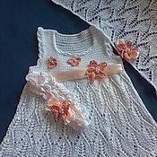 Работы для детей, handmade. Livemaster - original item Set Dresser, dress, scarf and booties. Handmade.